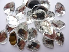 25 stuks kunststof strass stenen druppelvorm zilverkleur 18x13mm - SUPERLAGE PRIJS!