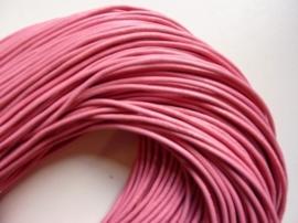 5 meter echt leren veter roze van 2 mm. dik - AA kwaliteit - SUPERLAGE PRIJS!