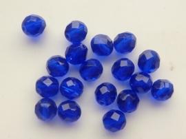 1258- 18 x tsjechies geslepen glaskralen 8x7mm donker blauw transparant