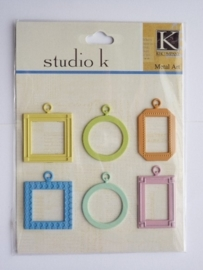 5642- K&Co metal`art lijstjes ca. 2.5x2.5 cm