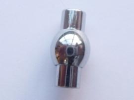 CH.048- magneetsluiting van 19x11mm voor bv leren veters van 6mm dik -ROESTVRIJSTAAL-