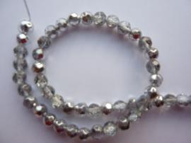 1296- 55 stuks electroplated glaskralen 6mm hoogglans trans. zilver - SUPERLAGE PRIJS!
