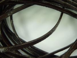 5 meter echt leren platte veter d.bruin van 2mm breed -  - SUPERLAGE PRIJS!