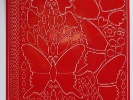 st783- stickervel vlinders rood