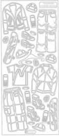 st871- stickervel met mannenkleding zilver 10x23cm  -  121001/0745