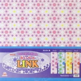 0524- 32 vel origami papier link patroon 4 kleuren 15x15cm OPRUIMING