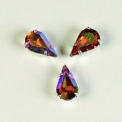 107011/0055- 8 stuks glazen rijg/naai strass steentjes 10x6mm druppel kristal topaz AB