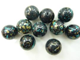000816- 10 stuks kunststof kralen 15mm gemarmerd turquoise
