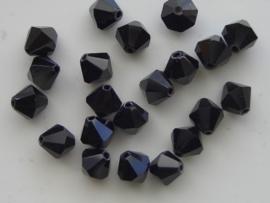 1334.B  - 20 stuks tsjechische kristal facet geslepen glaskralen zwart 8x8mm zwart hoogglans 1334
