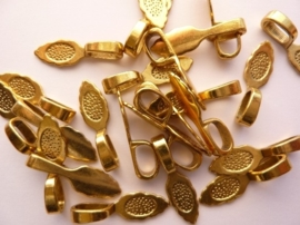 CH.728.25- 25 x bails hangerplaatjes 24 x 7 mm.mm goud - SUPERLAGE PRIJS!