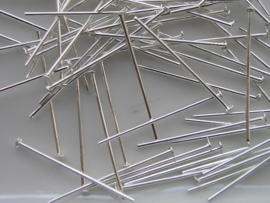 ca 100 x nietstift 20 mm zilverplated NK