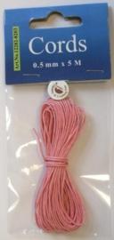 000CE440200/8203- 5 meter waxcord van 0.5mm dik roze