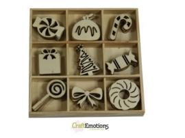 CE811500/0331- 45 stuks houten ornamentjes in een doosje kerst snoep 10.5x10.5cm
