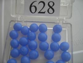 20 stuks 628 Ronde glaskraal 8 mm. midden blauw