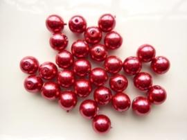 2174- 30 stuks glasparels van 10mm cerise/rood - SUPERLAGE PRIJS!