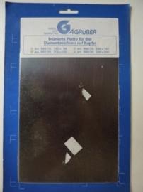 AZ.225- koperplaat gebruineerd voor etsen en graveren 15x20cm OPRUIMING