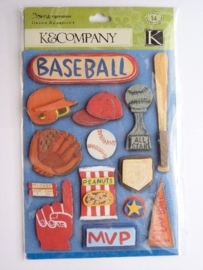 "5594- K&Co grand adh. chipboard 3D stickers ""baseball"" 12x16cm"