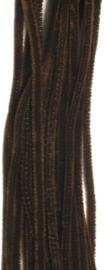 CE800700/7114- 20 stuks chenille draden van 30cm lang en 6mm dik donkerbruin