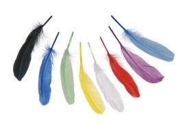 006620/0990- 8 stuks ganzenveren van 20cm lang - diverse kleuren in een zakje