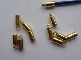 CN.038.10- 10 stuks veterklemmen/koordkapjes van 10mm goudkleur