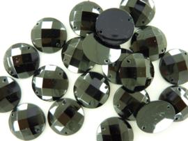 20 stuks kunststof strass stenen van 20mm zwart met 2 gaatjes