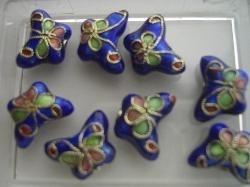 Vlinder CLOISSONNE kralen 5 stuks donkerblauw 1383