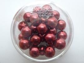 25 x ronde glasparels in een doosje 8mm donkerrood - 2219 723
