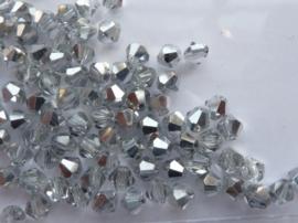 1245- ca. 85 stuks glaskralen bicone 4x4mm crystal met zilvercoating - SUPERLAGE PRIJS!