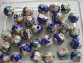 8 mm. CLOISSONNE kralen 12 stuks donkerblauw 1362