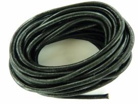 5 meter echt leren veter zwart van 3.5 - 4 mm. dik - AA kwaliteit - SUPERLAGE PRIJS!