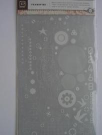 5421- basic grey rub-ons diverse afbeeldingen incl. krasstokje