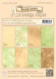CE117151/0485- 16 vellen LeCrea design papier assortiment brown/green A5