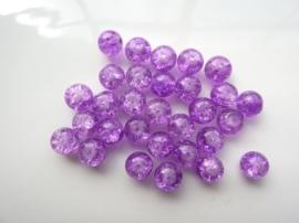 4092- 30 stuks qraccle glaskralen van 8mm lila