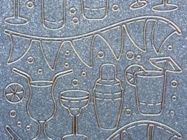st1047- glitterstickervel goud met feestafbeeldingen glazen en slingers 10x20cm