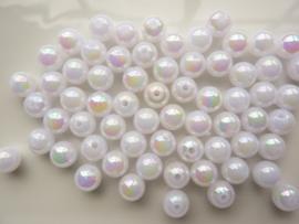 117474/0030- ruim 50 stuks kunststof parels van 8mm wit AB coating OPRUIMING