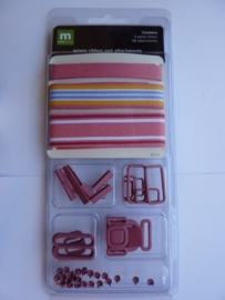 """5697- Making Memories woven ribbon and attachments """"granberry"""" OPRUIMING"""