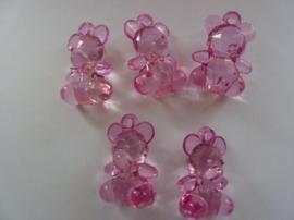 5 stuks acryl beertjes decoratie hangertjes transparant roze 34x24x14mm