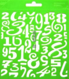 JOY6002/0810- Joy! crafts embossing achtergrondstencil poly-besa 14x14cm cijfers