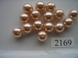 15 x glasparels rond 12mm licht zalm 2169