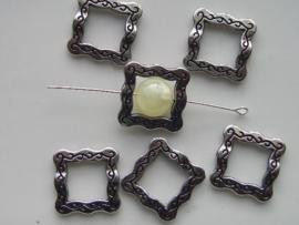 12089/8905- 6 x zwaar metalen kralen voor om kralen heen 18x18mm