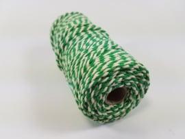 CE890030/3224- 43 mtr katoen macramé touw spoel 2mm 100grs - groen/wit