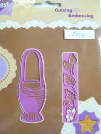 0002354- Joy0086- stencil mand met bloemen 9cm hoog OPRUIMING