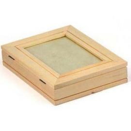 CE811730/0619- houten kist met fotolijstje 19x14.5x4cm paulownia