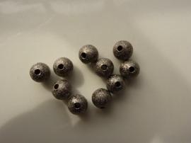CH.225- 10 stuks metalen stardust kralen 7mm antraciet