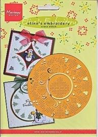 2613-  Marianne Design Eline`s embossing en borduurstencil kerstcirkel  OPRUIMING
