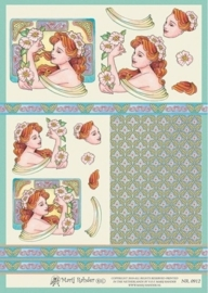 """kn/1929-  A4 3D knipvel Mary Rahder """"jugenstil dame 2""""  -  117140/2770"""