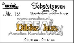 CE115634/3112- Crealies tekststans NO.12 dikke kus 9x28mm