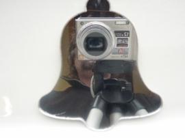 006000G- zelfklevend spiegeltje ca. 9x9cm kerstklok OPRUIMING