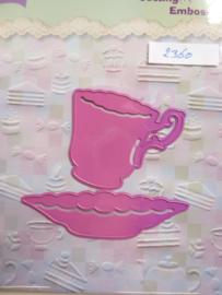 0002360- Joy0115- stencil kop en schotel (schotel is 9cm breed) OPRUIMING