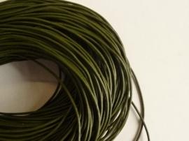 5 meter echt leren veter mosgroen van 2 mm. dik - AA kwaliteit - SUPERLAGE PRIJS!